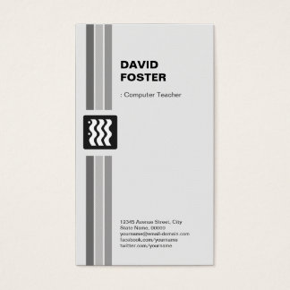 Computer Teacher - Modern Black White Business Card