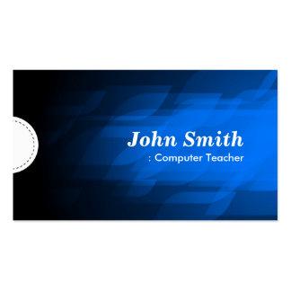 Computer Teacher - Modern Dark Blue Business Card