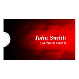 Computer Teacher - Modern Dark Red Business Card Template