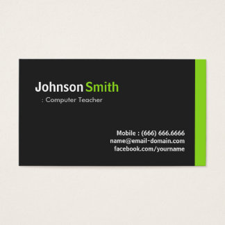 Computer Teacher - Modern Minimalist Green Business Card