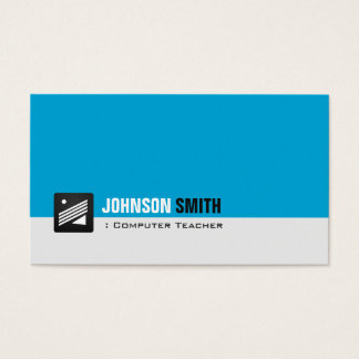 Computer Teacher - Personal Aqua Blue Business Card