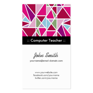 Computer Teacher - Pink Abstract Geometry Double-Sided Standard Business Cards (Pack Of 100)