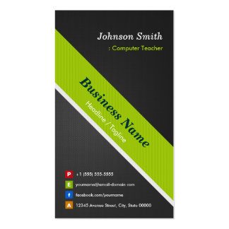 Computer Teacher - Premium Black and Green Pack Of Standard Business Cards