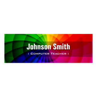 Computer Teacher - Radial Rainbow Colors Pack Of Skinny Business Cards