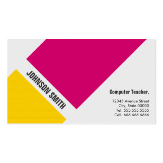 Computer Teacher - Simple Pink Yellow Business Cards