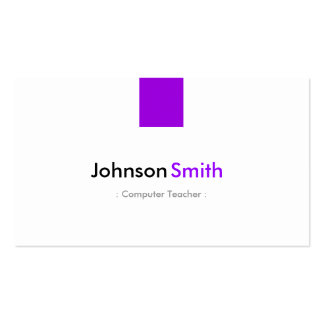 Computer Teacher - Simple Purple Violet Business Card