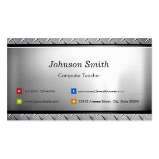 Computer Teacher - Stylish Platinum Look Double-Sided Standard Business Cards (Pack Of 100)