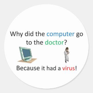 Computer virus joke classic round sticker