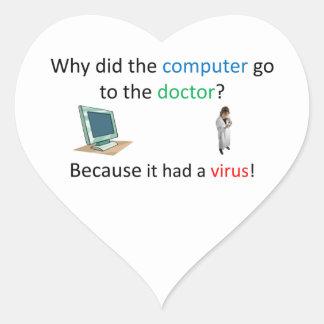 Computer virus joke heart sticker