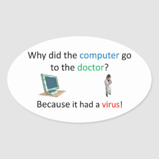 Computer virus joke oval sticker
