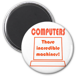 computers 6 cm round magnet