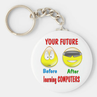 Computers Future Basic Round Button Key Ring