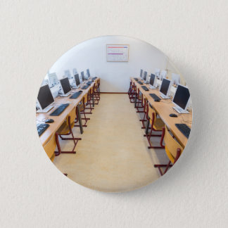 Computers in classroom of dutch education 6 cm round badge