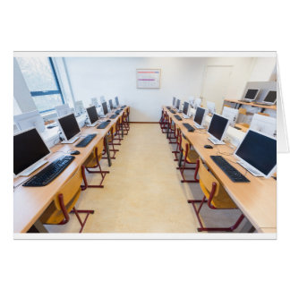 Computers in classroom of dutch education card