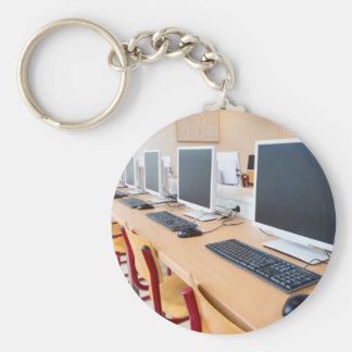 Computers in classroom on high school key ring