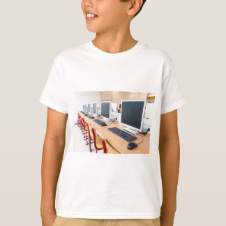 Computers in classroom on high school T-Shirt
