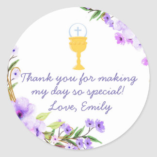 Comunnion Floral Watercolor Gift Favour Label