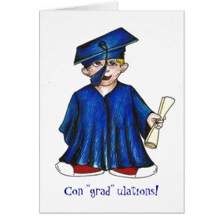 """Con """"grad"""" ulations! Boy Diploma Graduation Card"""