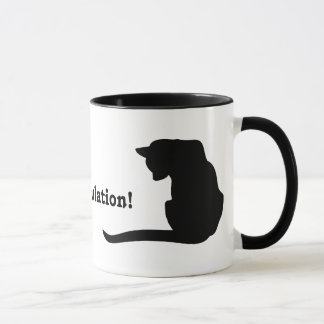 conCATulation.  Black cat silhouette Mug