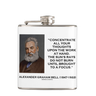 Concentrate All Your Thoughts Upon Work Bell Quote Hip Flask