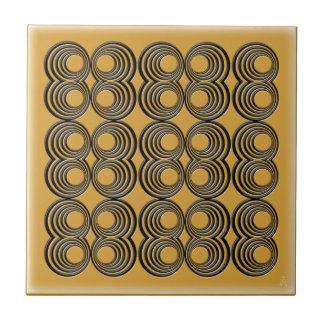 Concentric Black Circles over Harvest Gold Ceramic Tile