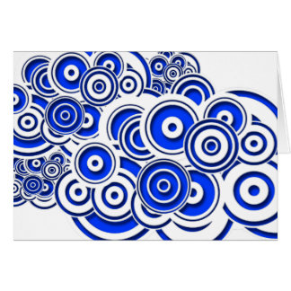 Concentric Blue Circles Greeting Cards