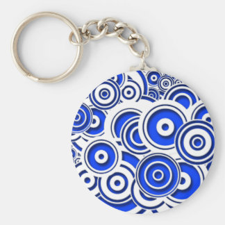 Concentric Blue Circles Key Chains