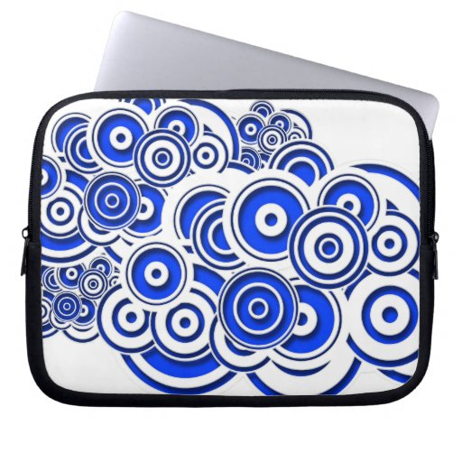 Concentric Blue Circles Laptop Computer Sleeve