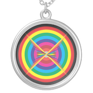 concentric circles colored target. silver plated necklace