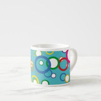 Concentric Circles Espresso Mug 6 Oz Ceramic Espresso Cup