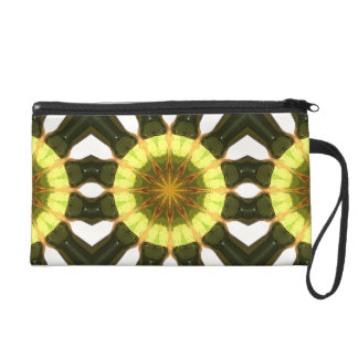 Concentric Lemon Lime Abstract Wristlet Clutches