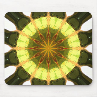 Concentric Lemon Lime Abstract Mouse Pad