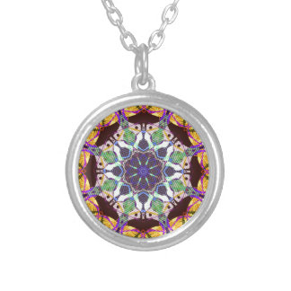 Concentric Lines of Color Silver Plated Necklace