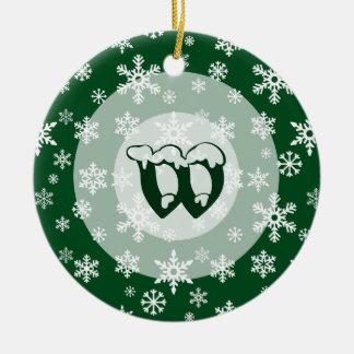 Concentric Snowdrift with custom monogram Ceramic Ornament