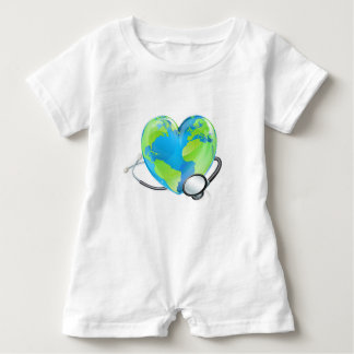 Concept Stethoscope Heart Earth World Globe Health Baby Bodysuit