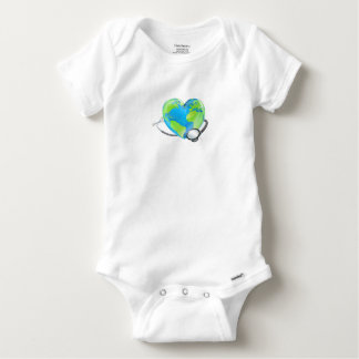 Concept Stethoscope Heart Earth World Globe Health Baby Onesie