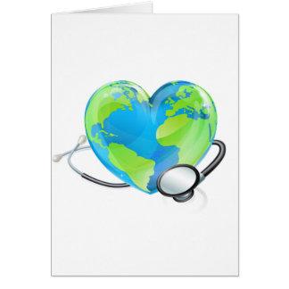 Concept Stethoscope Heart Earth World Globe Health Card