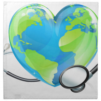 Concept Stethoscope Heart Earth World Globe Health Napkin