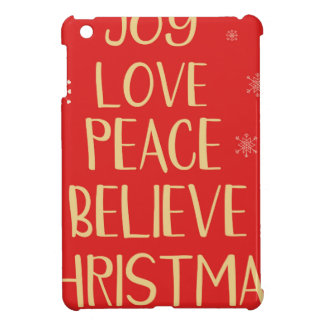 Conceptual christmas tree from words. Red backgrou iPad Mini Cover