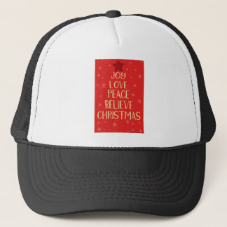 Conceptual christmas tree from words. Red backgrou Trucker Hat