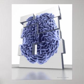 Conceptual computer artwork of building blocks poster