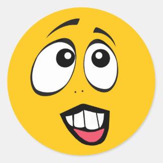 Concerned Yellow Emoji Classic Round Sticker