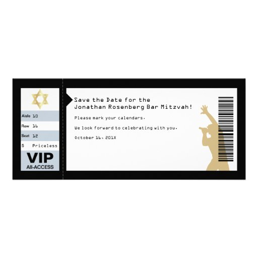 Concert Ticket Bar Mitzvah Save the Date in Black Personalized Invitation