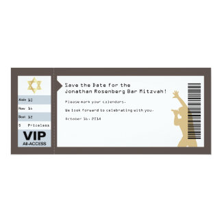 Concert Ticket Bar Mitzvah Save the Date in Brown Custom Invitations