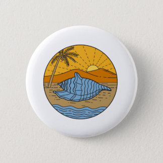 Conch Shell on Beach Mountain Sun Coconut Tree Mon 6 Cm Round Badge