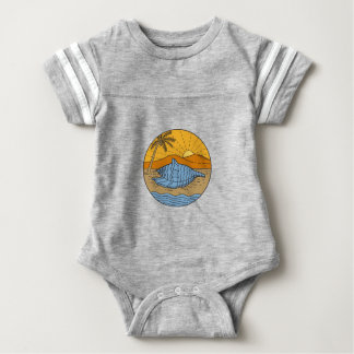 Conch Shell on Beach Mountain Sun Coconut Tree Mon Baby Bodysuit