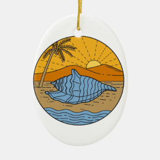Conch Shell on Beach Mountain Sun Coconut Tree Mon Ceramic Ornament