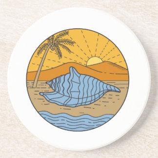 Conch Shell on Beach Mountain Sun Coconut Tree Mon Coaster
