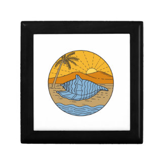 Conch Shell on Beach Mountain Sun Coconut Tree Mon Gift Box