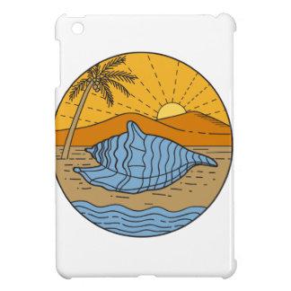 Conch Shell on Beach Mountain Sun Coconut Tree Mon iPad Mini Cover